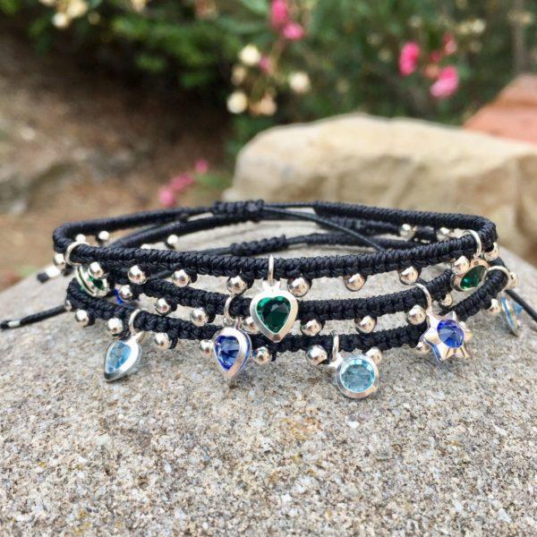 Bracelet Mireille en micro-macramé, breloque et perles en argent 925 création MIA PROVENCE