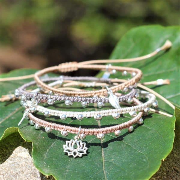 Bracelets Mireille en micro-macramé et perles en argent 925