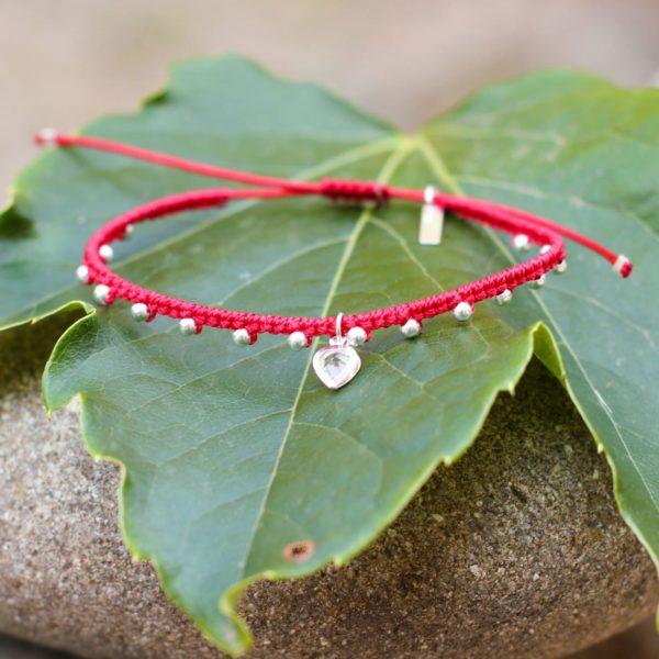 Bracelet Mireille en micromacramé et perles en argent 925 création MIA PROVENCE