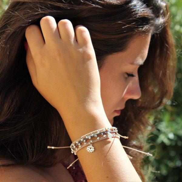Bracelets Mireille beige rosé, taupe