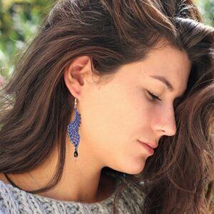 Boucles d'oreille femme tendance bleue