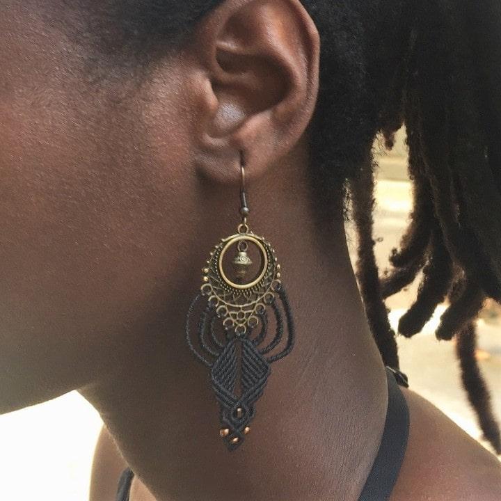 boucle d'oreille ethnique noire MIA Provence