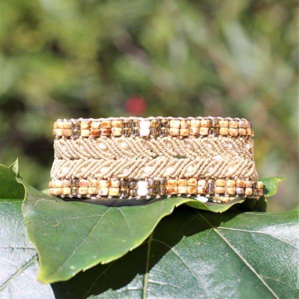 Bracelet l'arlesien beige en micro-macramé