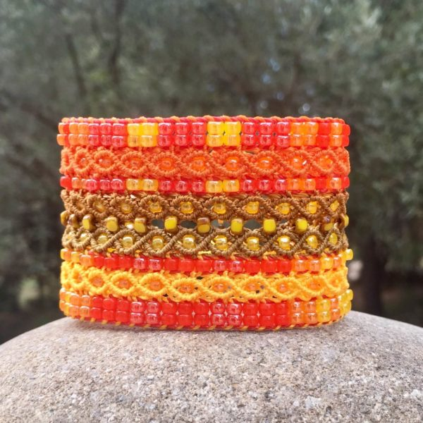 Bracelet manchette Le Cannois version orange et jaune