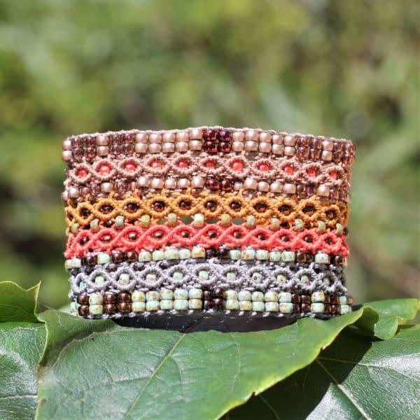 Bracelet manchette Le Cannois version Taupe, orangé et bronze