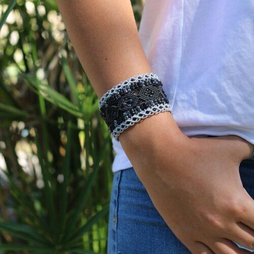 Bracelet manchette ethnique noire - MIA Provence