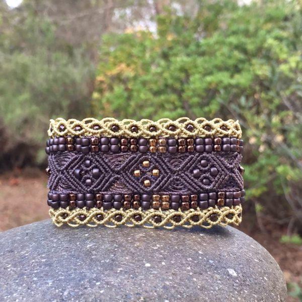 Bracelet manchette le Nîmois XL marron et bronze