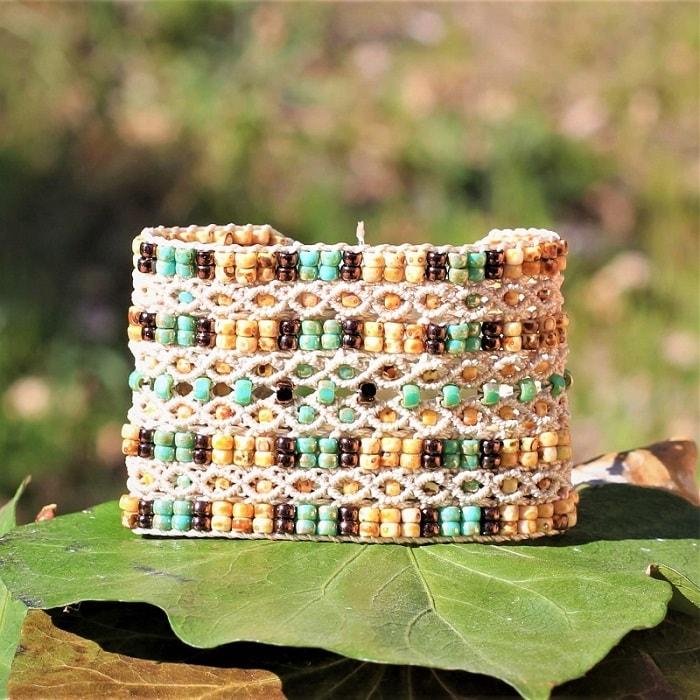 Bracelet fantaisie de luxe beige et turquoise