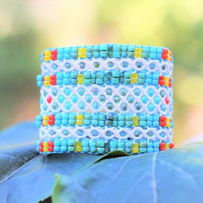 Symbolique des couleurs - Bracelet fantaisie de luxe blanc et turquoise - mia provence