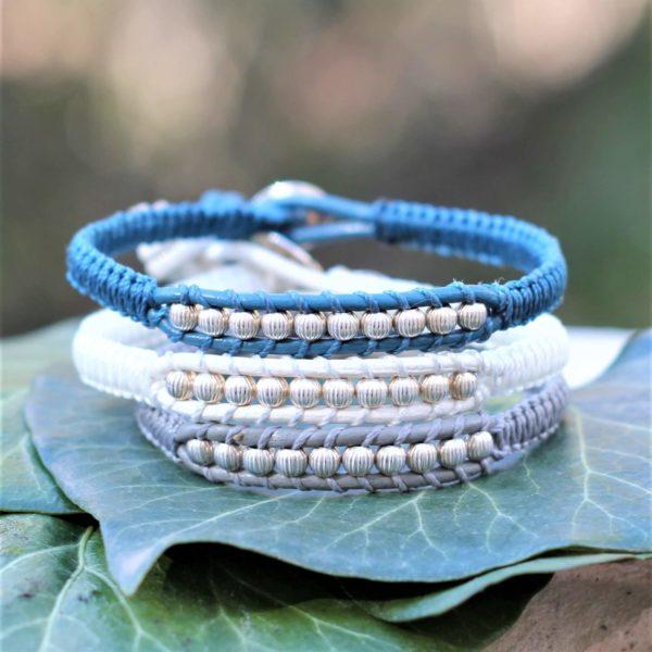 Bracelet Podestat gris, blanc et bleu en cuir et argent 925