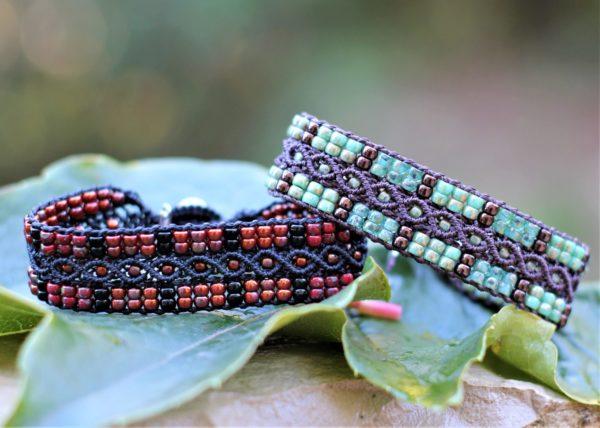 Bracelets L'Aixois noir et rouge et marron et vert