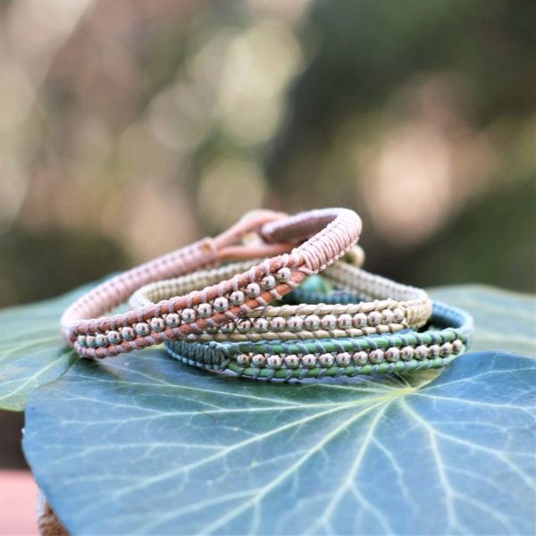 Bracelets Mounine en cuir et argent couleurs pastel