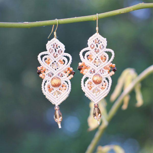 Boucles d'oreilles baroques en micro-macramé