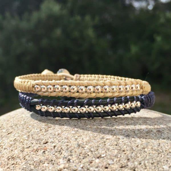 Bracelets Mounine en cuir et argent