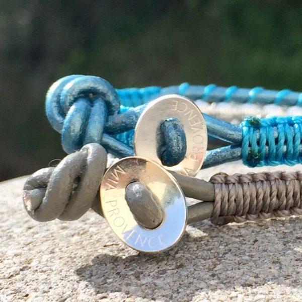 Boutons bracelet Podestat gris et bleu en cuir et argent 925