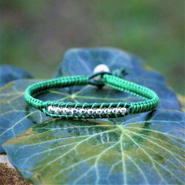 Bracelet Sugiton vert en cuir et argent 925