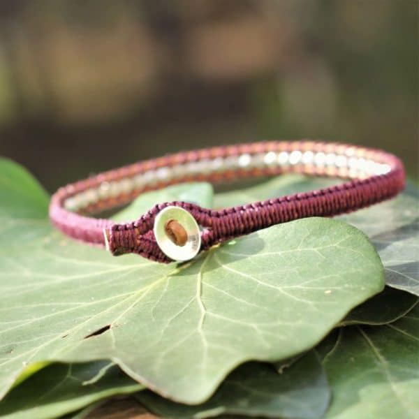 Bracelet en argent Michel aubergine