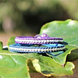 bracelet homme cuir argent bleu et violet