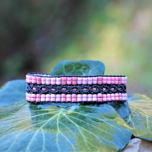 Bracelet en perles de rocaille L'Aixois rose et noir