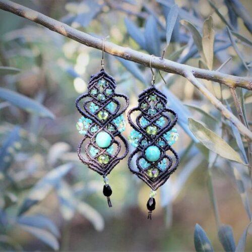 Grosses boucles d'oreilles fantaisie marron et turquoise en perles - MIA Provence
