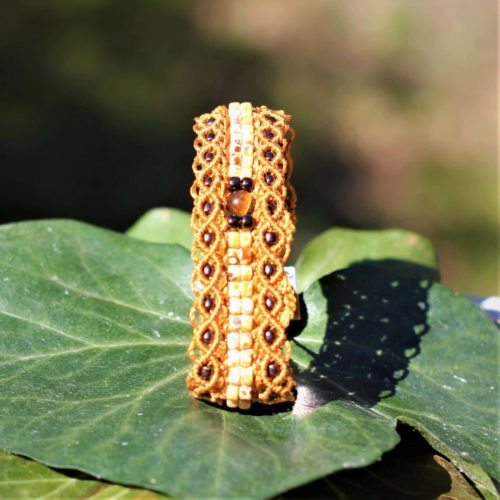 Bracelet le Marseillais version double rangée de perles de rocaille au centre