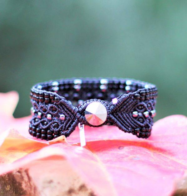 Bracelet Le Tropézien noir avec perles gris hématite - Bouton gris