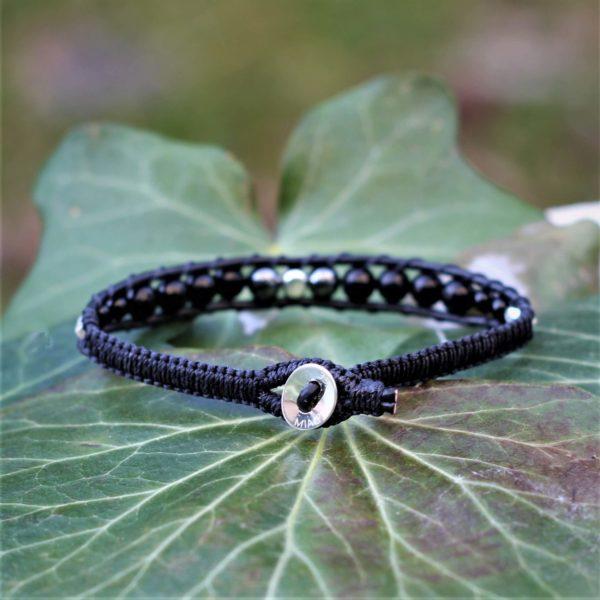 Bracelet pour homme Le Gabriel en cuir, pierres fines et argent 925 - vue de dos