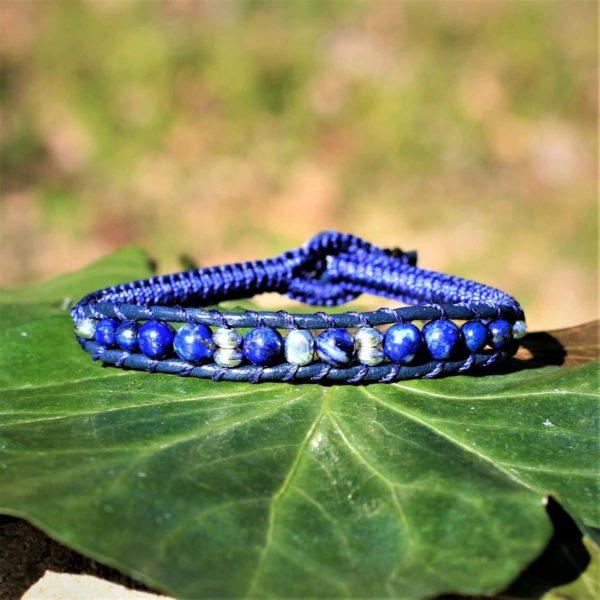 Bracelet Mathias pour homme en cuir, pierres files et perles en argent 925