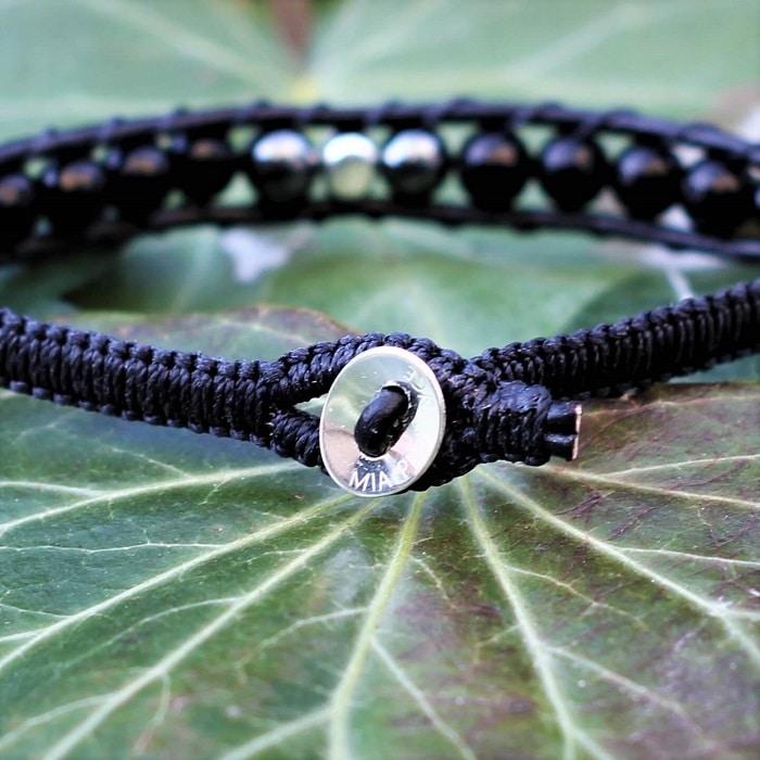 bouton et perles ovales en argent 925 bijou cr\u00e9ateur Bracelet homme MIA PROVENCE en cuir naturel perles rondes chrysocolle et jaspe