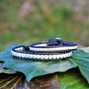 Bracelet mixte homme femme noir Endoume