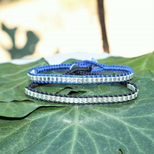 Bracelet mixte homme femme noir et bleu