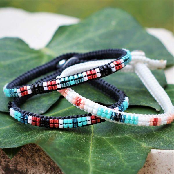 Bracelet le Cassidain en cuir, argent et perles de rocaille Miyuki