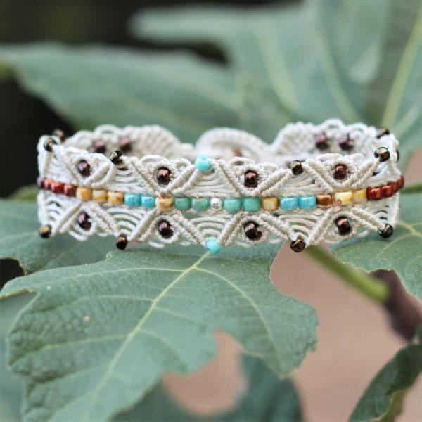 Bracelet Le Cucuronnais écru et turquoise