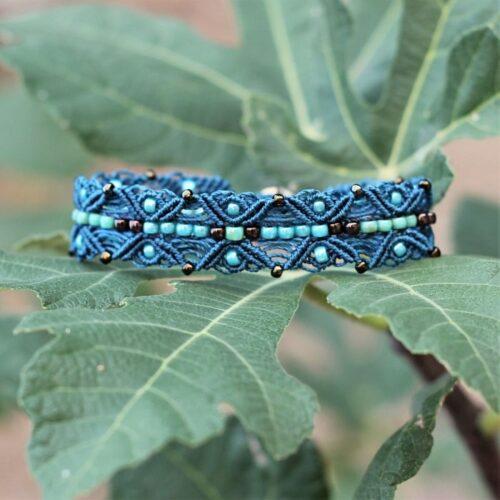 Bracelet style bohème chic bleu