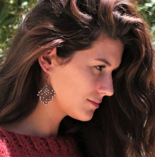 Boucle d'oreille bohème chic marron MIA Provence
