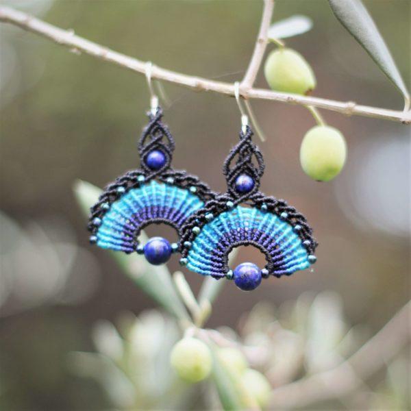 Boucles d'oreilles éventail Noires et bleues