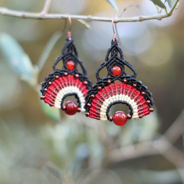 Boucles d'oreilles éventail noires et rouge
