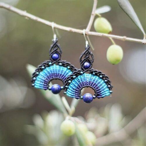 Boucles d'oreilles hippie chic bleu