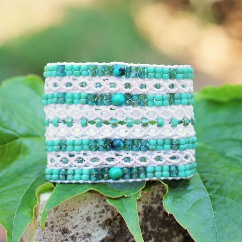 Bracelet fantaisie de luxe manchette turquoise