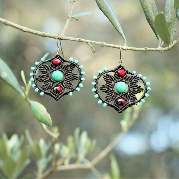 Boucles d'oreilles couronne de feuilles