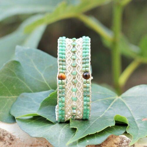 Bracelet bohème large beige et vert turquoiseLe Tropézien