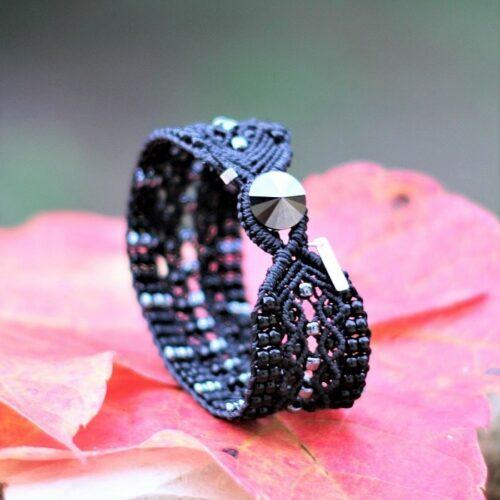 Fermeture du bracelet bohème large noir Le Tropézien - création artisanale