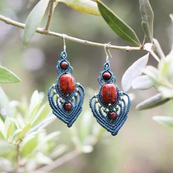 Boucles d'oreilles orientales bleues ALMA