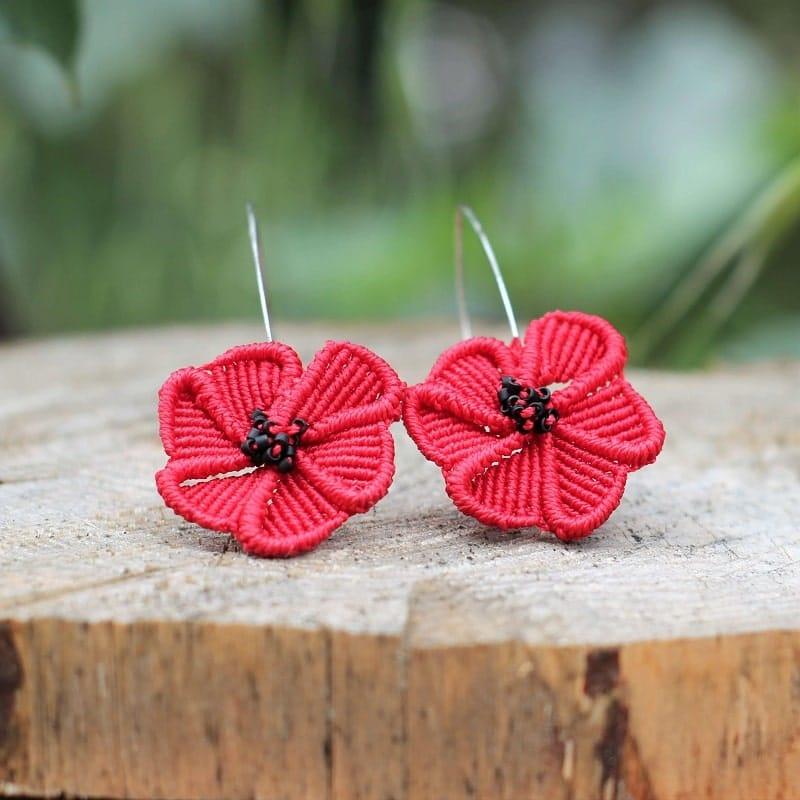 bijoux coquelicot Symbolique des couleurs - Boucles d'oreilles originales à fleur rouge MIA PROVENCE