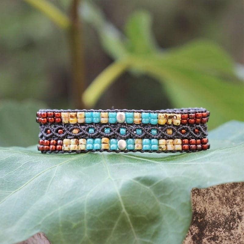 bracelet étroit en perles de rocaille aux couleurs style Navajo
