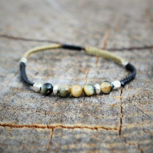 Bracelet homme en oeil de tigre golden et perles en argent