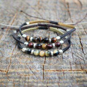 Bracelet homme ajustable pierre naturelle argent