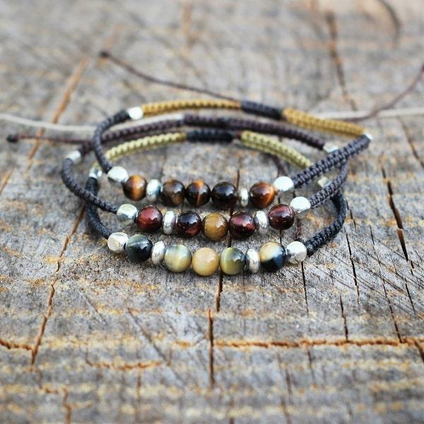 Bracelets homme ajustable pierre naturelle argent - MIA Provence