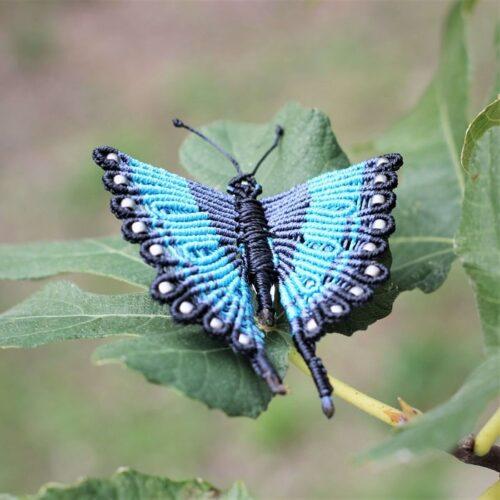 Broche papillon multicolore bleu