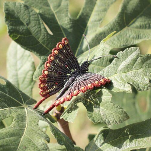 Broche papillon multicolore marron